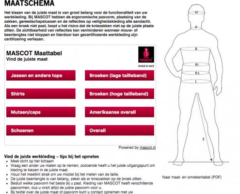 maatschema mascot workwear
